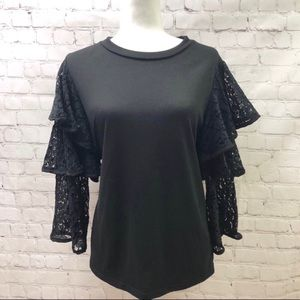 Pleione Black Top Ruffle 3/4 Lace Bell Sleeve
